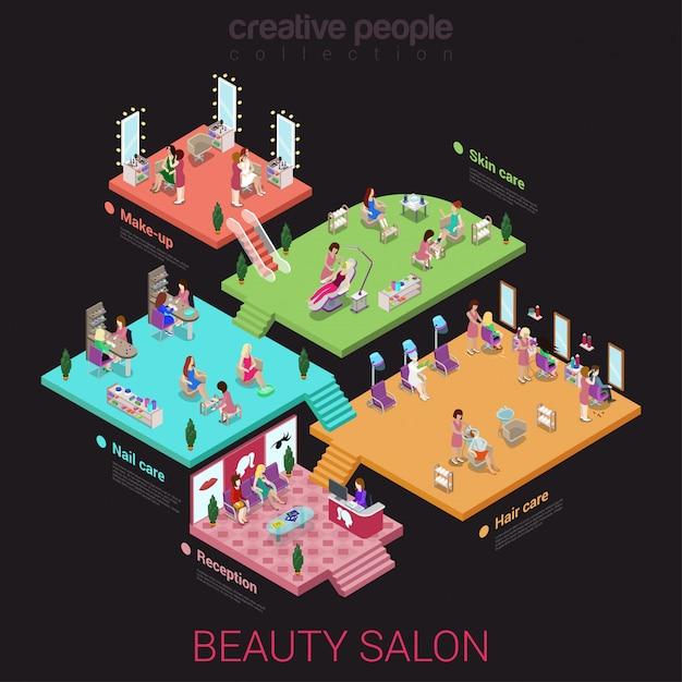 Concepto interior de salón de belleza edificio pisos recepción uñas cabello cuidado de la piel maquillaje plano isométrico. Vector Premium