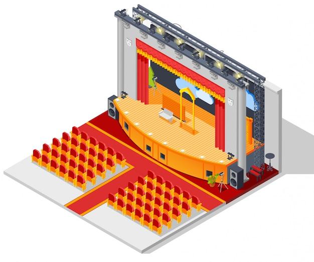 Concepto de interior del teatro vector gratuito