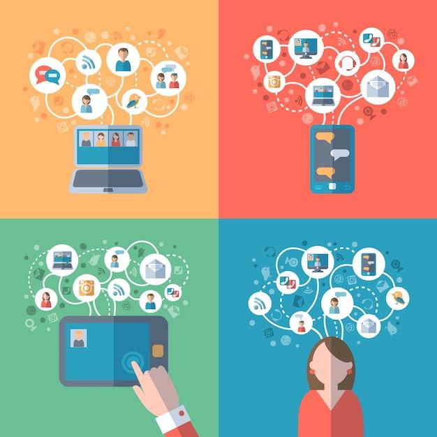 Concepto de internet y redes sociales. vector gratuito
