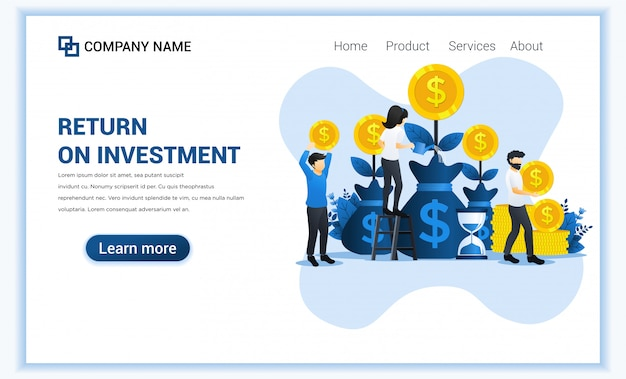 Concepto de inversión de dinero con personas crecen monedas, ganancias, regalías de inversiones. Vector Premium