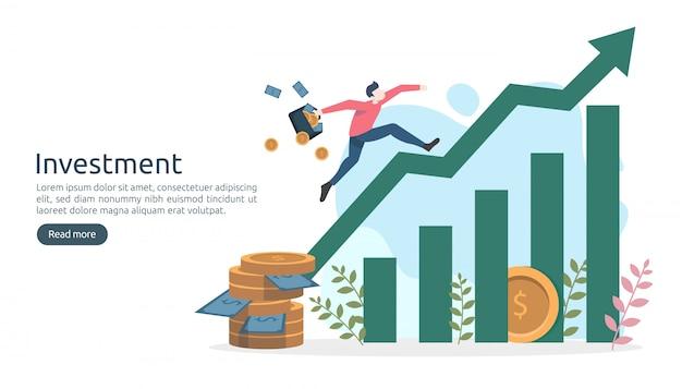 Concepto de inversión empresarial. moneda de pila de dólares, gente diminuta, dinero. plantilla de página de destino moderna Vector Premium