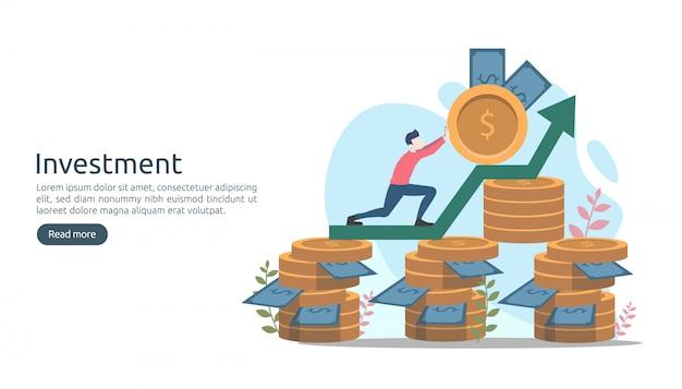 Concepto de inversión empresarial. moneda de pila de dólares, gente diminuta, dinero. Vector Premium