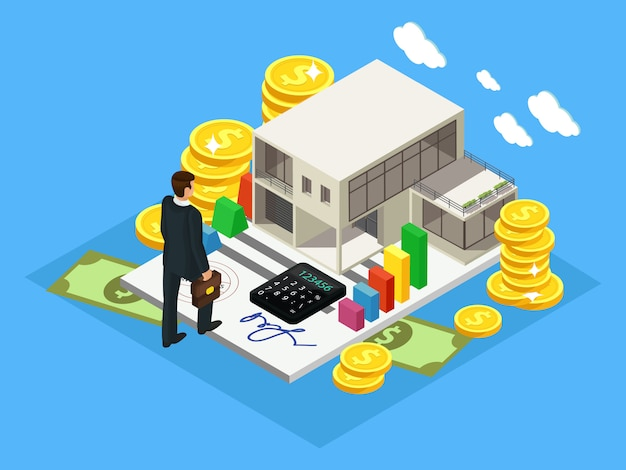 Concepto de inversión y finanzas isométrico vector gratuito