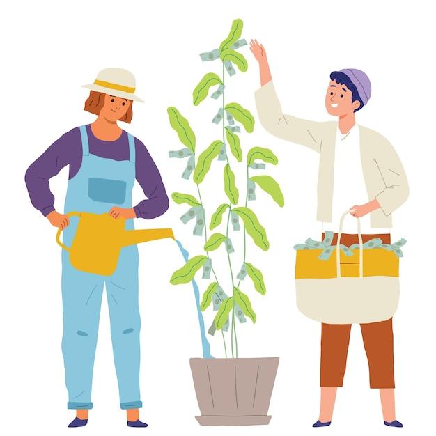 Concepto de inversión de money tree business vector gratuito