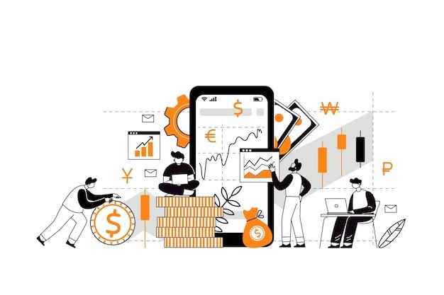 El concepto de inversión y multiplicación de ingresos. compra de acciones y fondos. estrategia de inversión, concepto de financiación. los personajes analizan el mercado de valores con la ayuda de un corredor de inversiones. Vector Premium