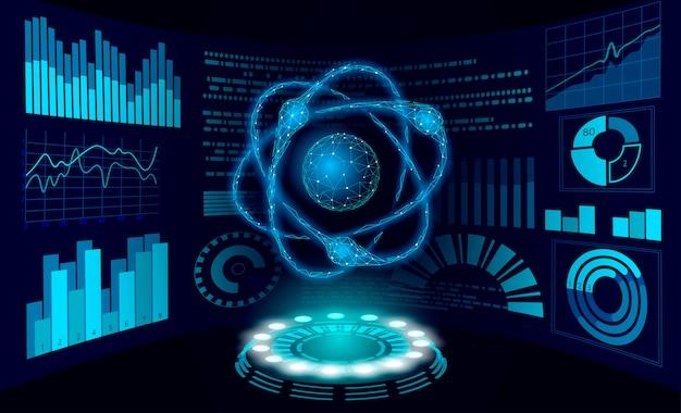 Concepto de investigación de ciencia de realidad virtual. hud muestra el trabajo en realidad aumentada del proyecto. dispositivo digital de análisis de datos de física de partículas de átomo 3d. ilustración de tecnología de medicina en línea Vector Premium