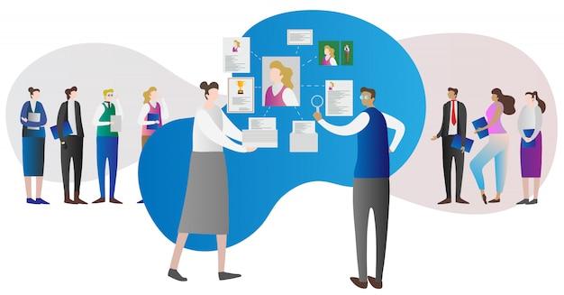 Concepto de investigación de recursos humanos de la empresa corporativa. Vector Premium