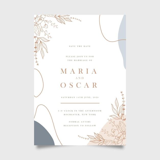 Concepto de invitación de boda vector gratuito