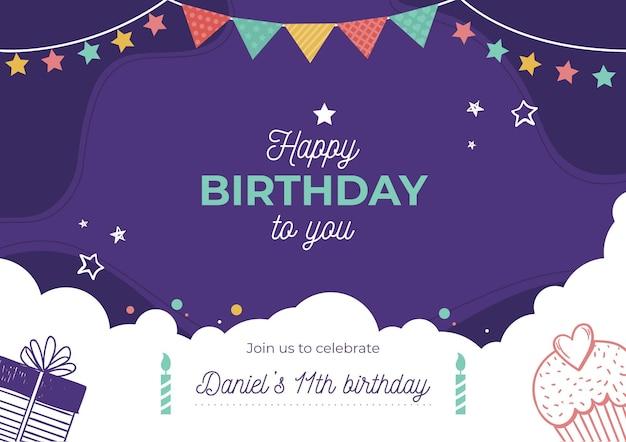 Concepto de invitación de cumpleaños vector gratuito