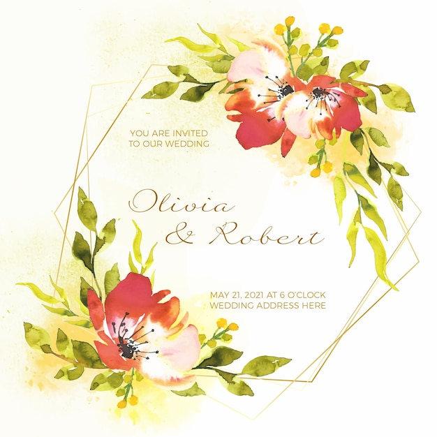 Concepto de invitación de marco floral de boda vector gratuito
