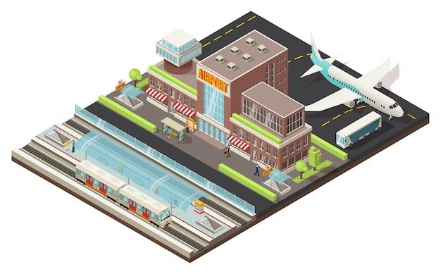 Concepto isométrico del aeropuerto y la estación de metro vector gratuito