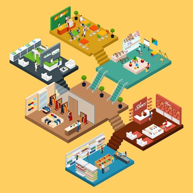 Concepto isométrico del centro comercial vector gratuito