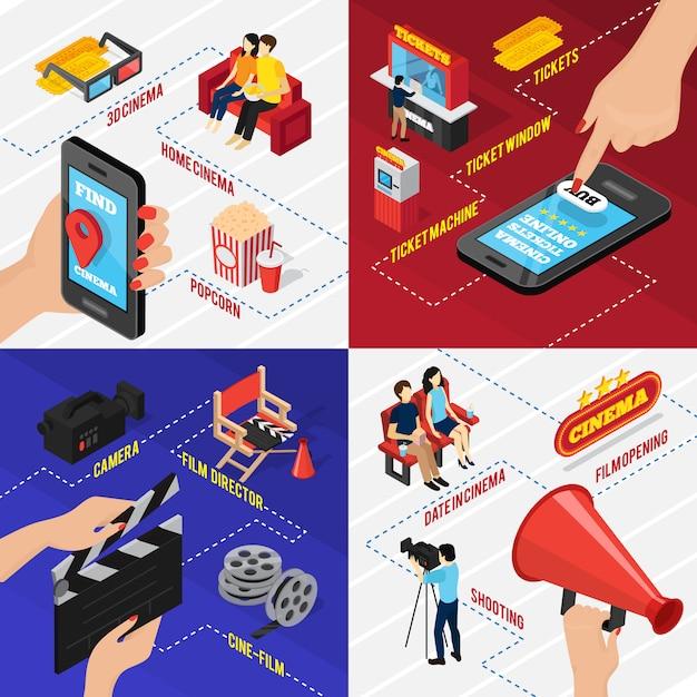 El concepto isométrico del cine en 3d con la ubicación de los teléfonos inteligentes y las aplicaciones de venta de entradas sienta el carrete y el equipo de filmación vector gratuito