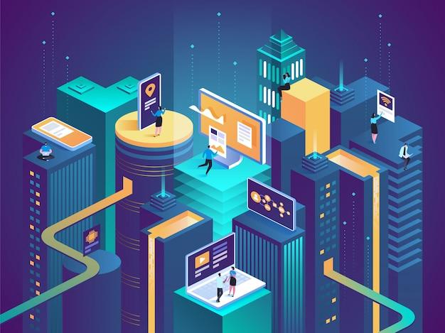 Concepto isométrico de ciudad inteligente edificios inteligentes Vector Premium
