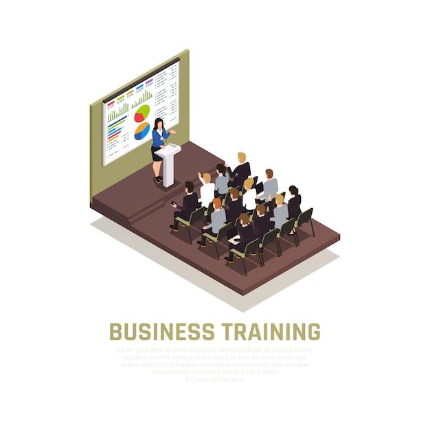 Concepto isométrico de coaching empresarial con símbolos de conferencias y talleres vector gratuito