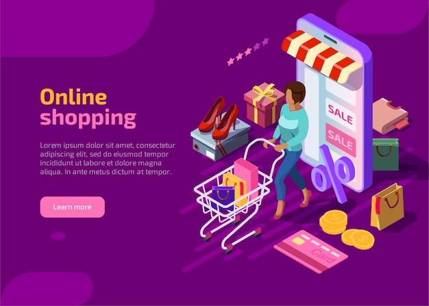 Concepto isométrico de compras en línea sobre fondo violeta vector gratuito