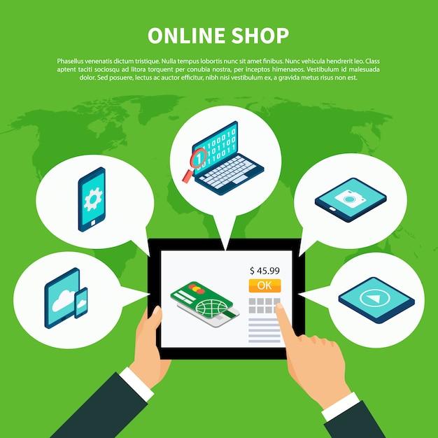 Concepto isométrico de compras en línea vector gratuito