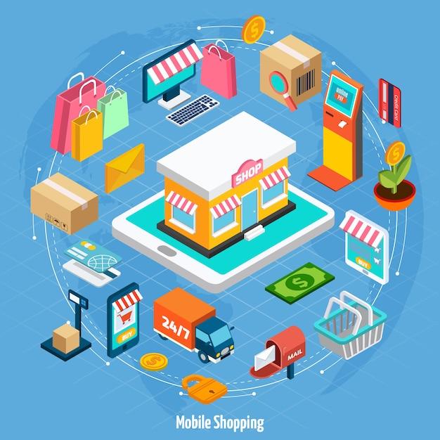 Concepto isométrico de compras móvil vector gratuito