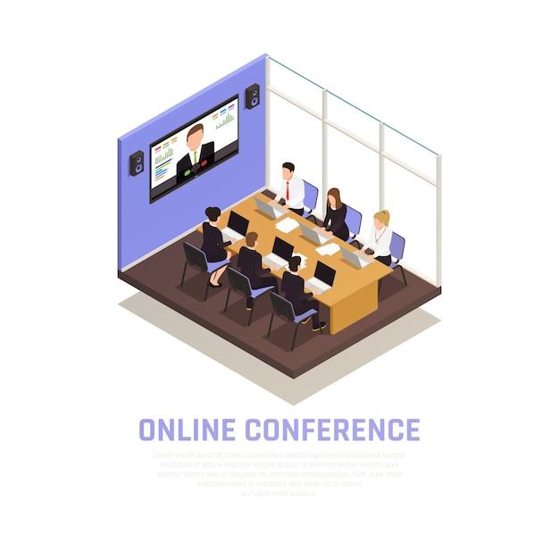 Concepto isométrico de conferencia en línea de negocios con símbolos de comunicación vector gratuito