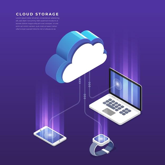 Concepto isométrico de configuración de red de usuarios de tecnología de computación en nube. ilustración. Vector Premium