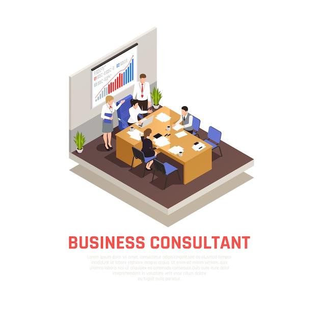 Concepto isométrico de consultor comercial con símbolos de presentación y conferencia vector gratuito