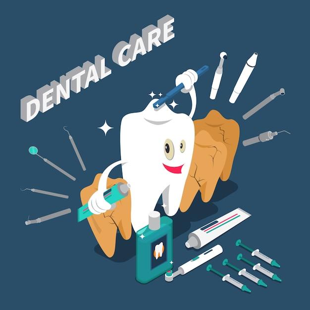 Concepto isométrico del cuidado dental vector gratuito