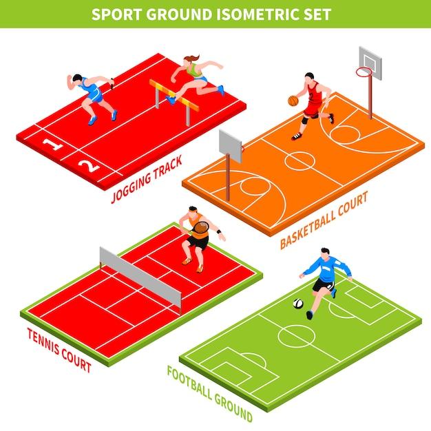 Concepto isométrico del deporte vector gratuito