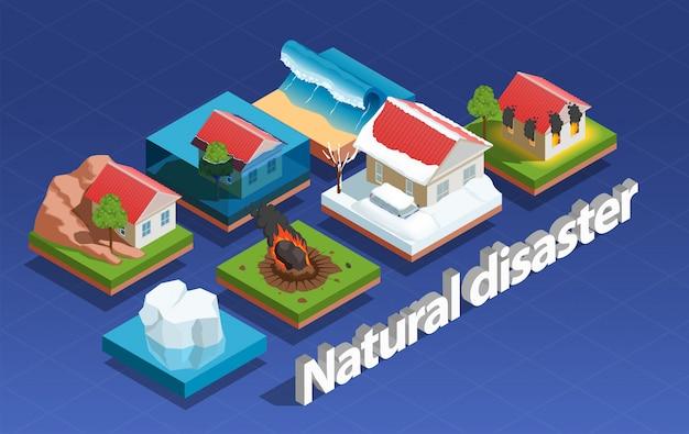 Concepto isométrico de desastres naturales vector gratuito