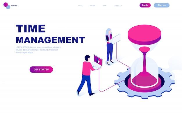 Concepto isométrico de diseño plano moderno de la gestión del tiempo Vector Premium