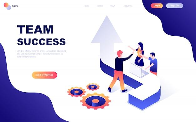 Concepto isométrico de diseño plano moderno de team success Vector Premium