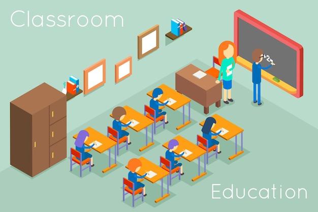 Concepto isométrico de educación en el aula escolar. interior del aula para lección, aula de ilustración con profesor y estudiantes vector gratuito