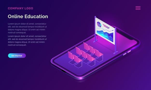 Concepto isométrico de educación o formación en línea. vector gratuito