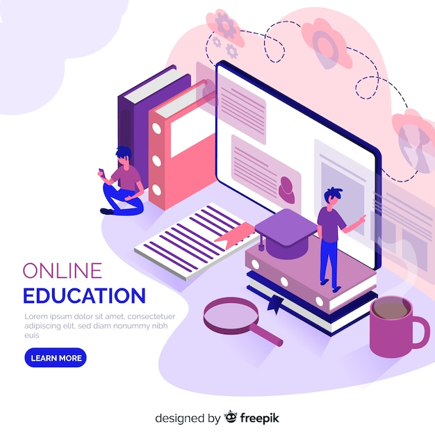 Concepto isométrico de educación online vector gratuito