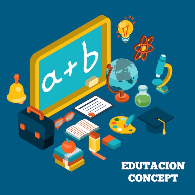 Concepto isométrico de educación vector gratuito