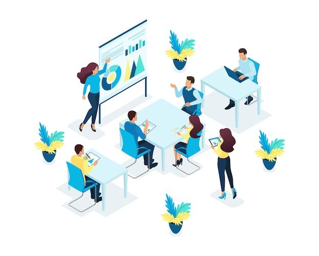 Concepto isométrico de formación del personal de oficina, coaching, desarrollo profesional. concepto para web Vector Premium