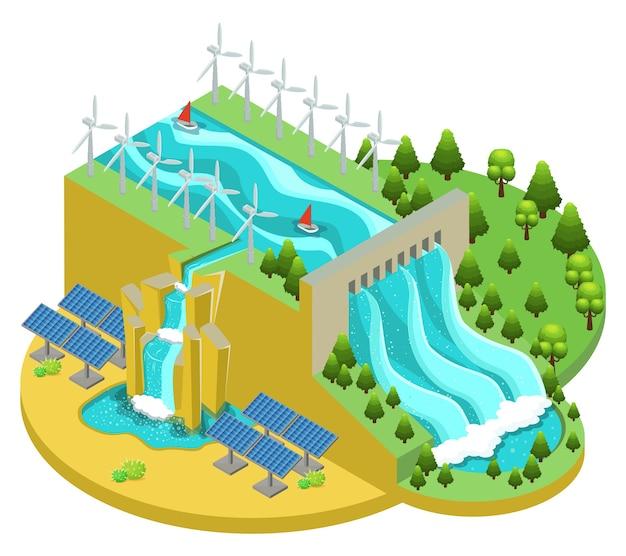 Concepto isométrico de fuentes de energía alternativas con molinos de viento y paneles solares de la central hidroeléctrica vector gratuito