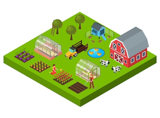 Concepto isométrico de granja vector gratuito