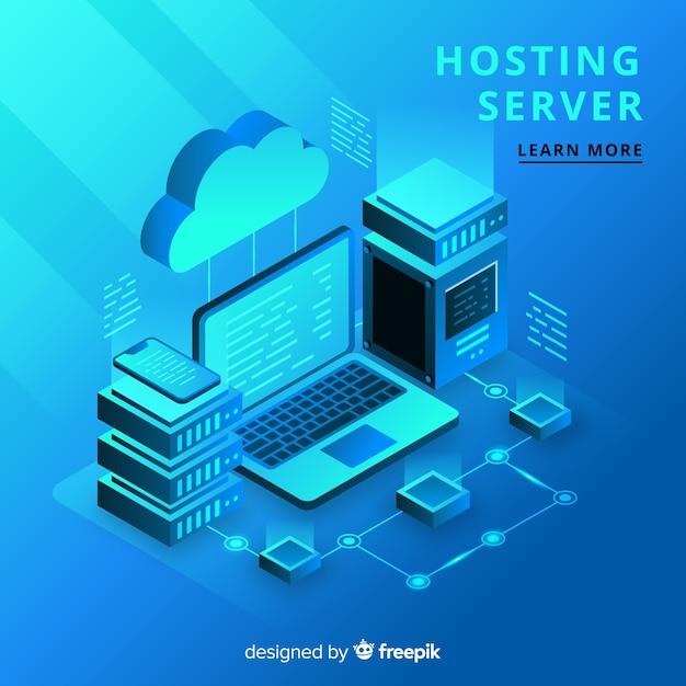 Concepto isométrico de hosting vector gratuito