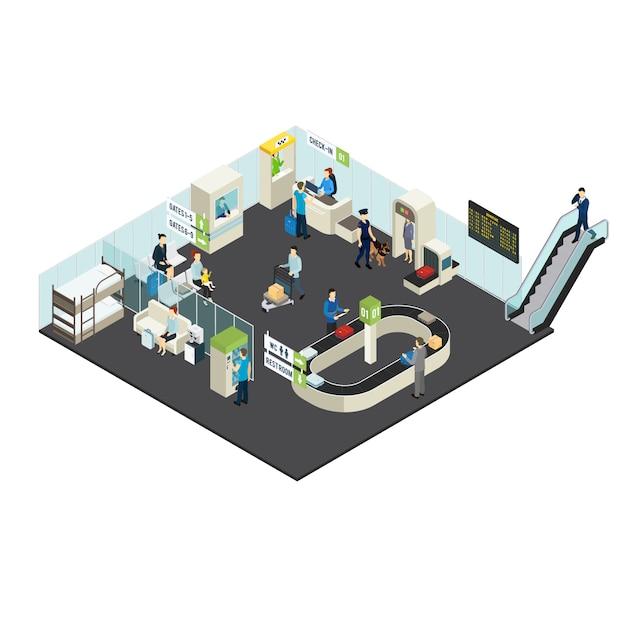 Concepto isométrico interior del aeropuerto vector gratuito