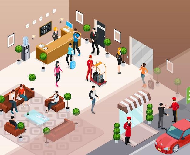 Concepto isométrico interior del hotel vector gratuito