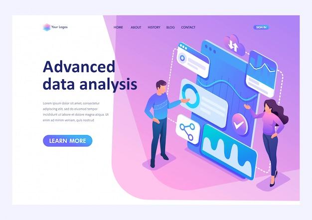 Concepto isométrico jóvenes emprendedores revisan informes y analizan datos. página de inicio de plantilla para sitio web Vector Premium