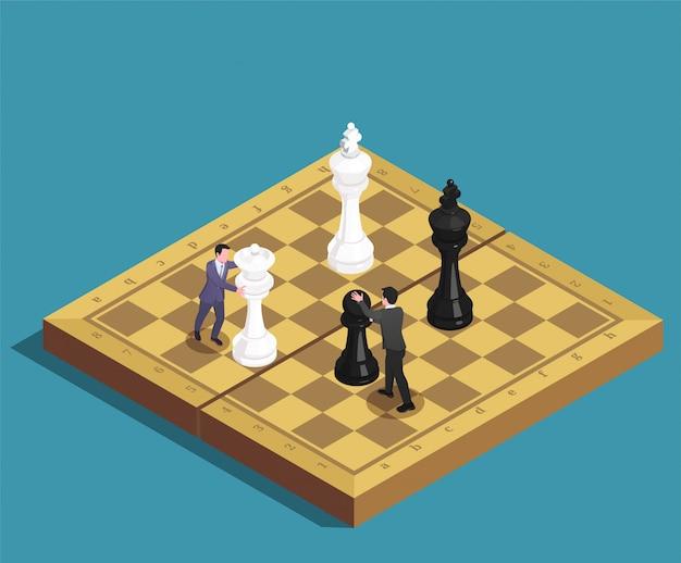 Concepto isométrico del juego de ajedrez vector gratuito