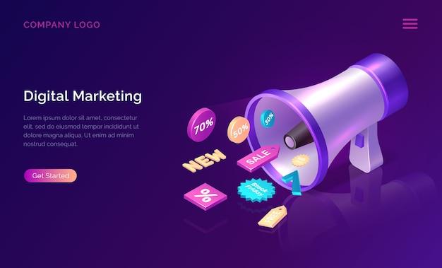 Concepto isométrico de marketing digital con megáfono vector gratuito