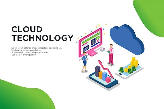 Concepto isométrico moderno diseño plano de la tecnología de la nube. Vector Premium