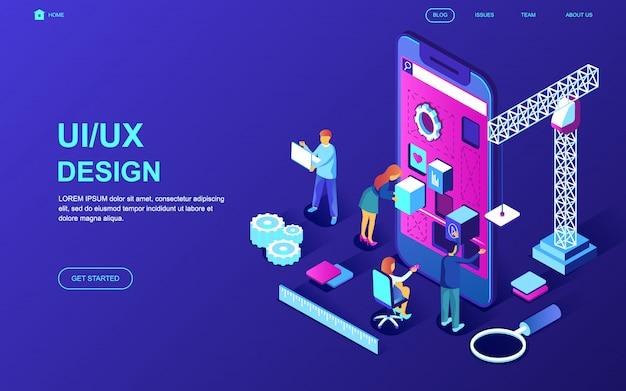 Concepto isométrico moderno diseño plano de ux, diseño de interfaz de usuario Vector Premium