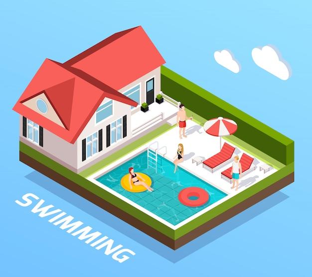 Concepto isométrico de piscina con personas descansando junto a la ilustración de vector de piscina vector gratuito