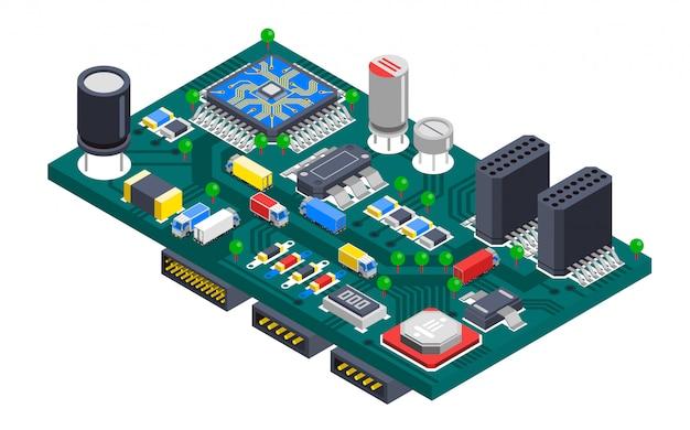 Concepto isométrico de la placa de circuito vector gratuito