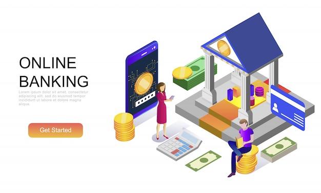 Concepto isométrico plano de banca en línea Vector Premium