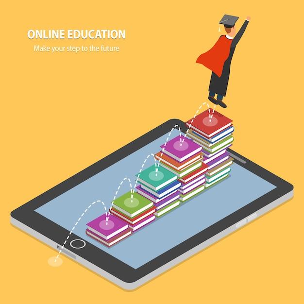 Concepto isométrico plano de la educación en línea Vector Premium