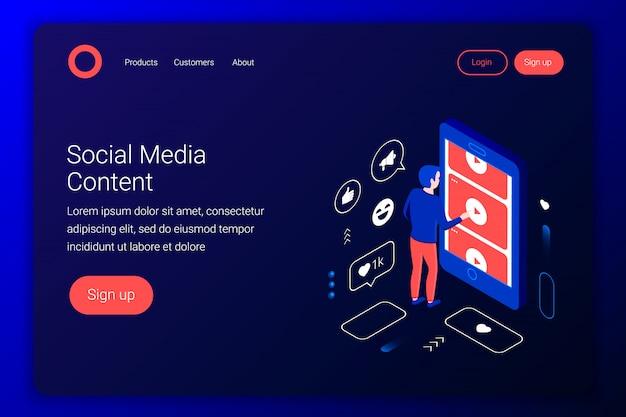 Concepto isométrico de redes sociales. el hombre ve videos de youtube a través de la pantalla de un teléfono inteligente. estilo plano 3d. plantilla de página de destino. ilustración. Vector Premium
